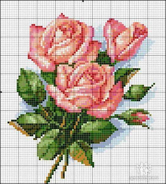 картинки для вышивки крестом цветы схемы