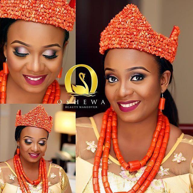 Ibo bride adorned in her traditional attire. mua ...