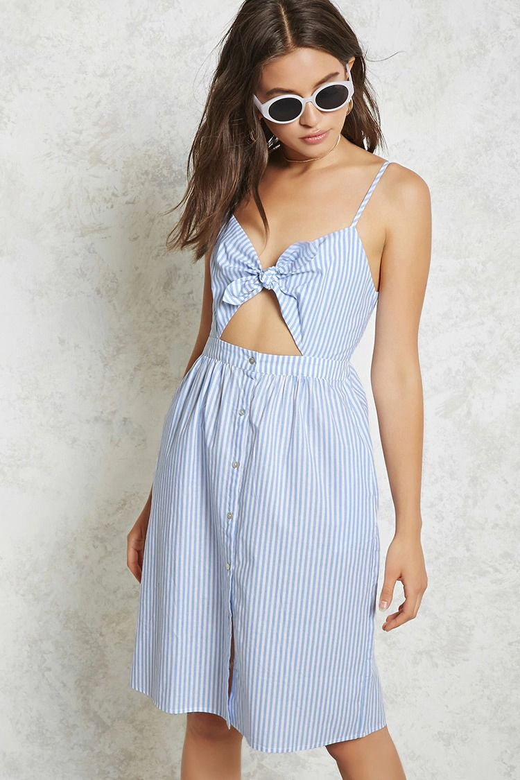 9744bdcbb07 A woven dress featuring a self-tie front with a cutout opening, adjustable  cami straps, front button placket, and an allover striped print.