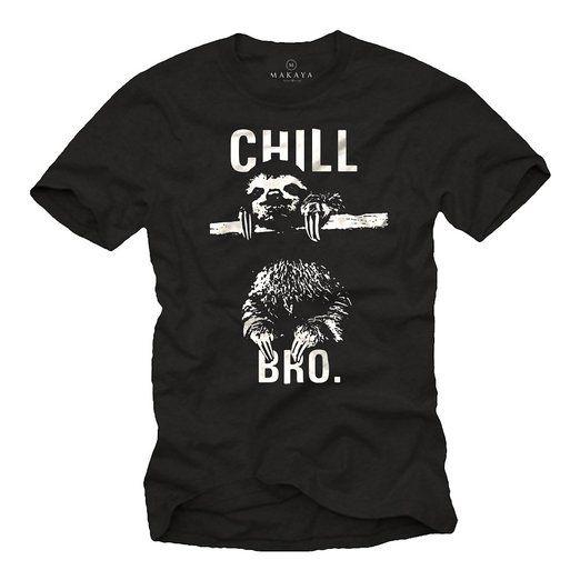 43cc34d7859ae1 Cooles Hipster T-Shirt mit Faultier für Herren CHILL BRO. schwarz Größe XXXL