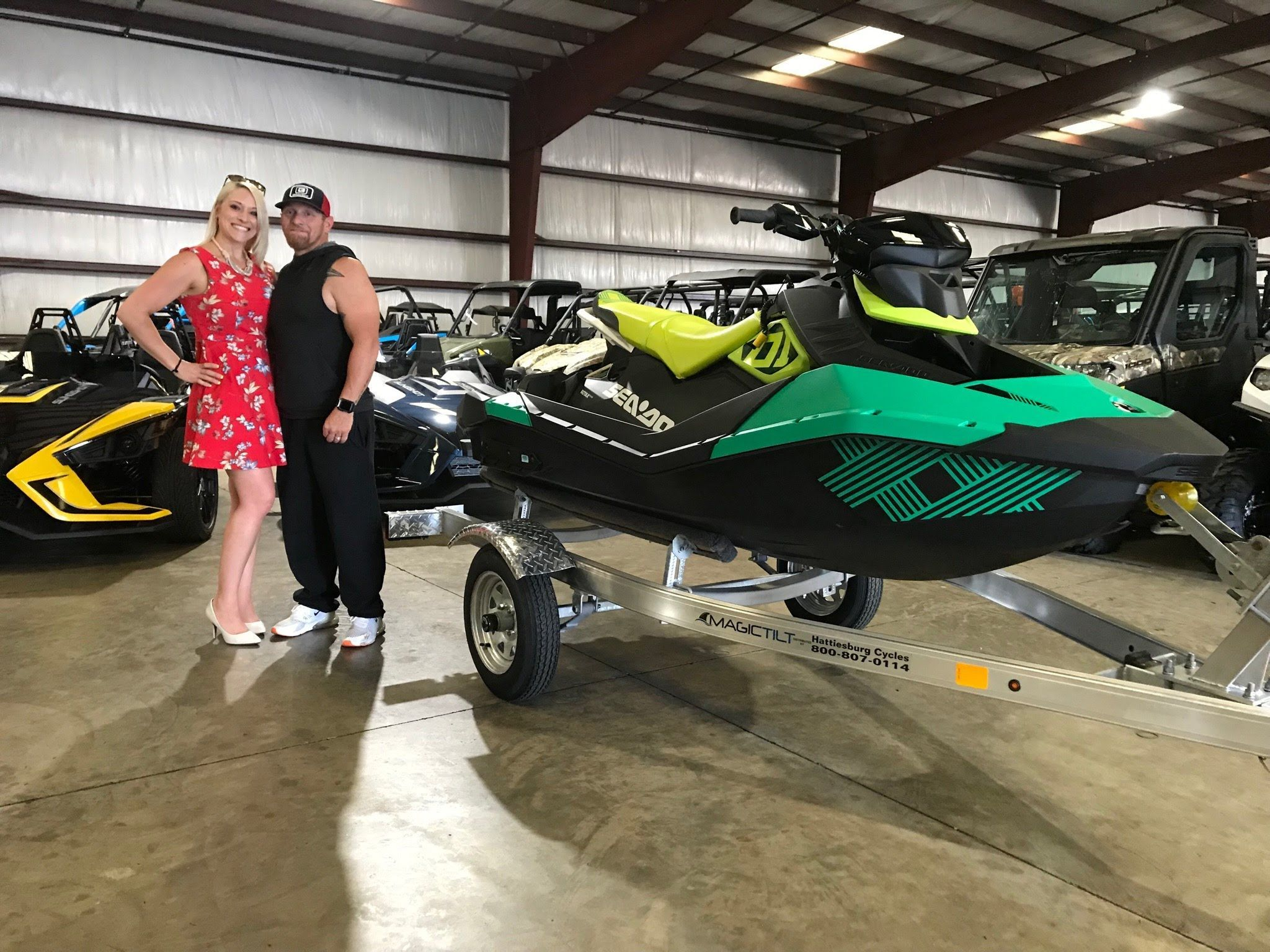 Congratulations To Sarah Marie And Brian Rutherford From Hattiesburg Ms For Purchasing A 2019 Sea Doo Spark Trixx At Hattiesburg Cyc Hattiesburg Seadoo Racing