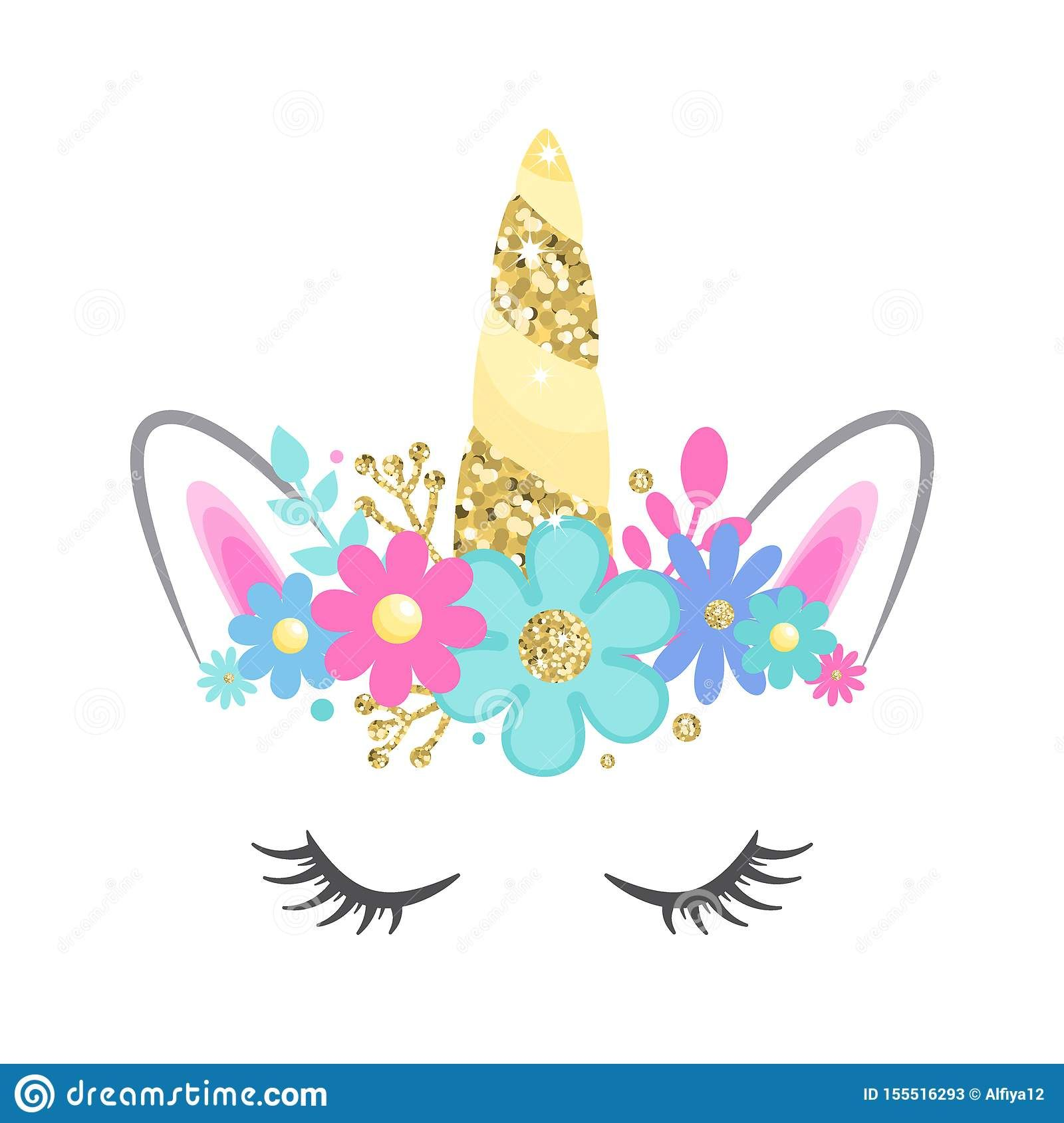 Hand drown Unicorn head with tail (105) SVG/DXF/PDF/PNG