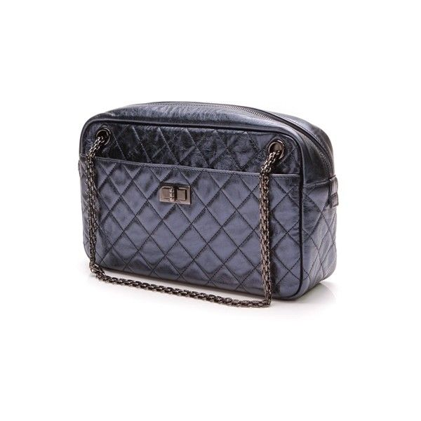 3aff5cffe986 Pre-Owned Chanel Metallic Blue Quilted Calfskin Reissue Medium Camera...  ($1,300) ❤ liked on Polyvore featuring accessories, tech accessories,  metallic ...