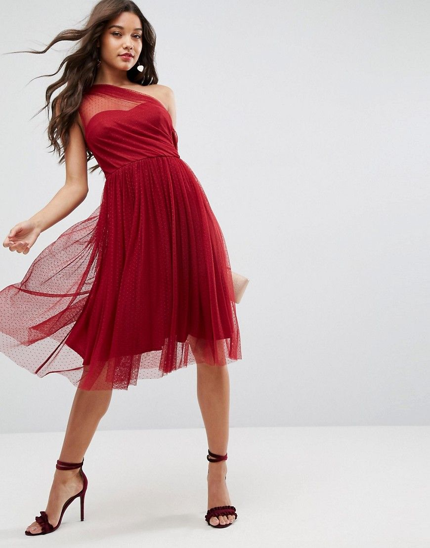 Asos dobby one shoulder midi prom dress red products pinterest