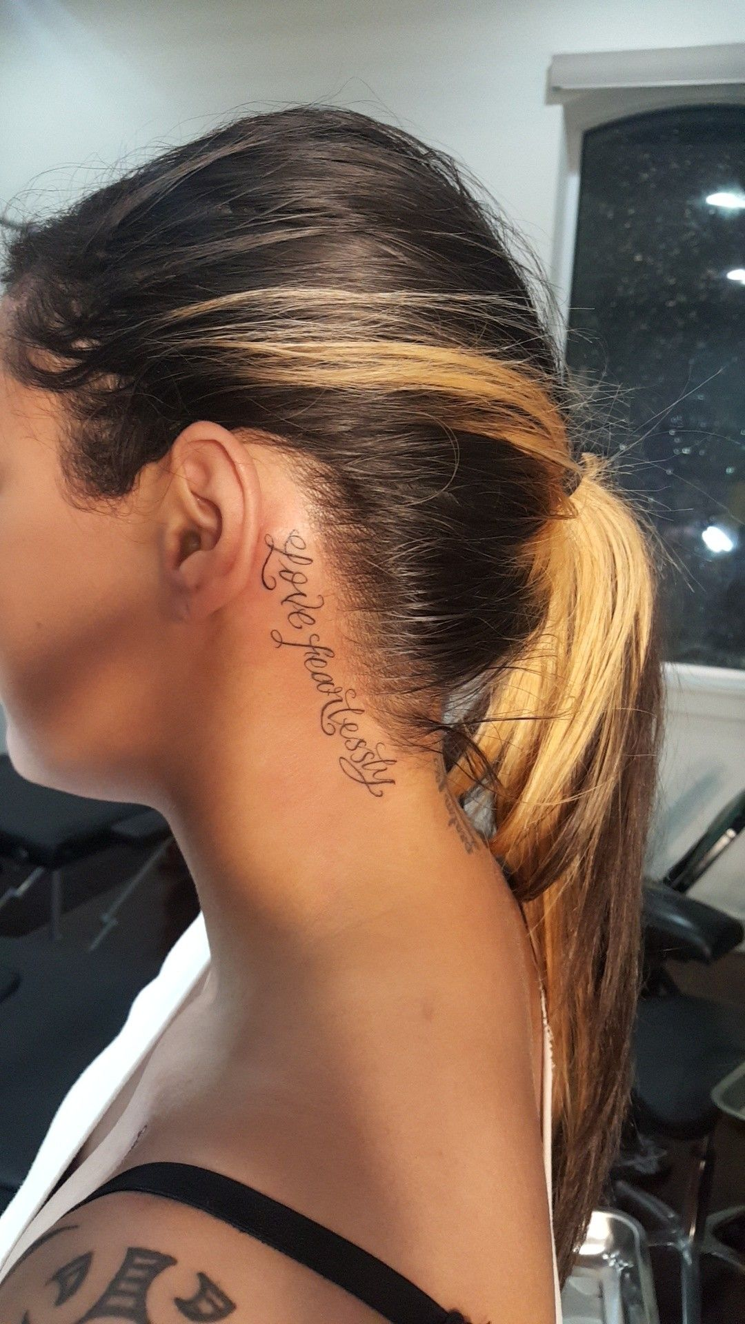 Number 14 Girl neck tattoos, Neck tattoos women