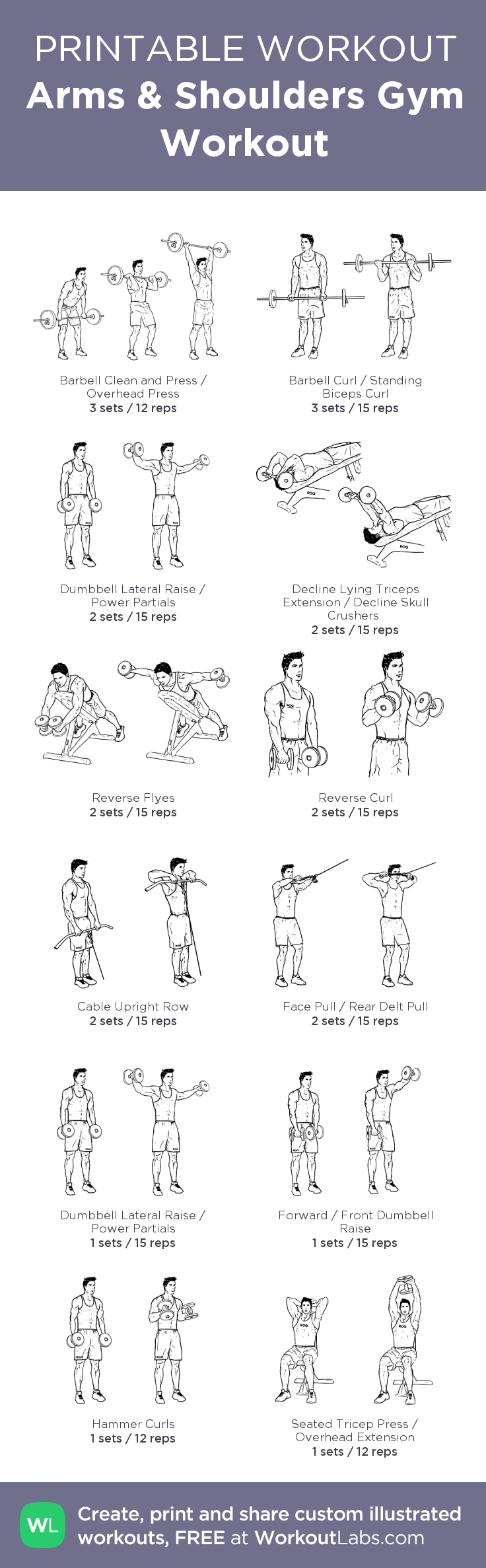 Arms Shoulders Gym Workout My Custom Created At WorkoutLabs O Click Through To Download As Printable PDF Customworkout
