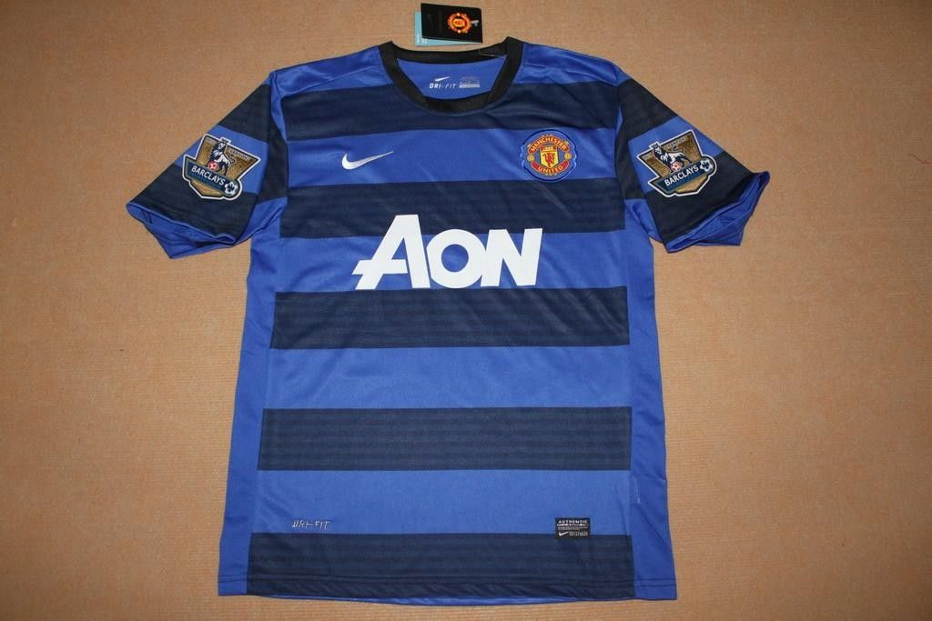 New 11 12 Manchester United Away Blue Black Football Jersey And Shorts Jersey Football Jerseys Manchester United