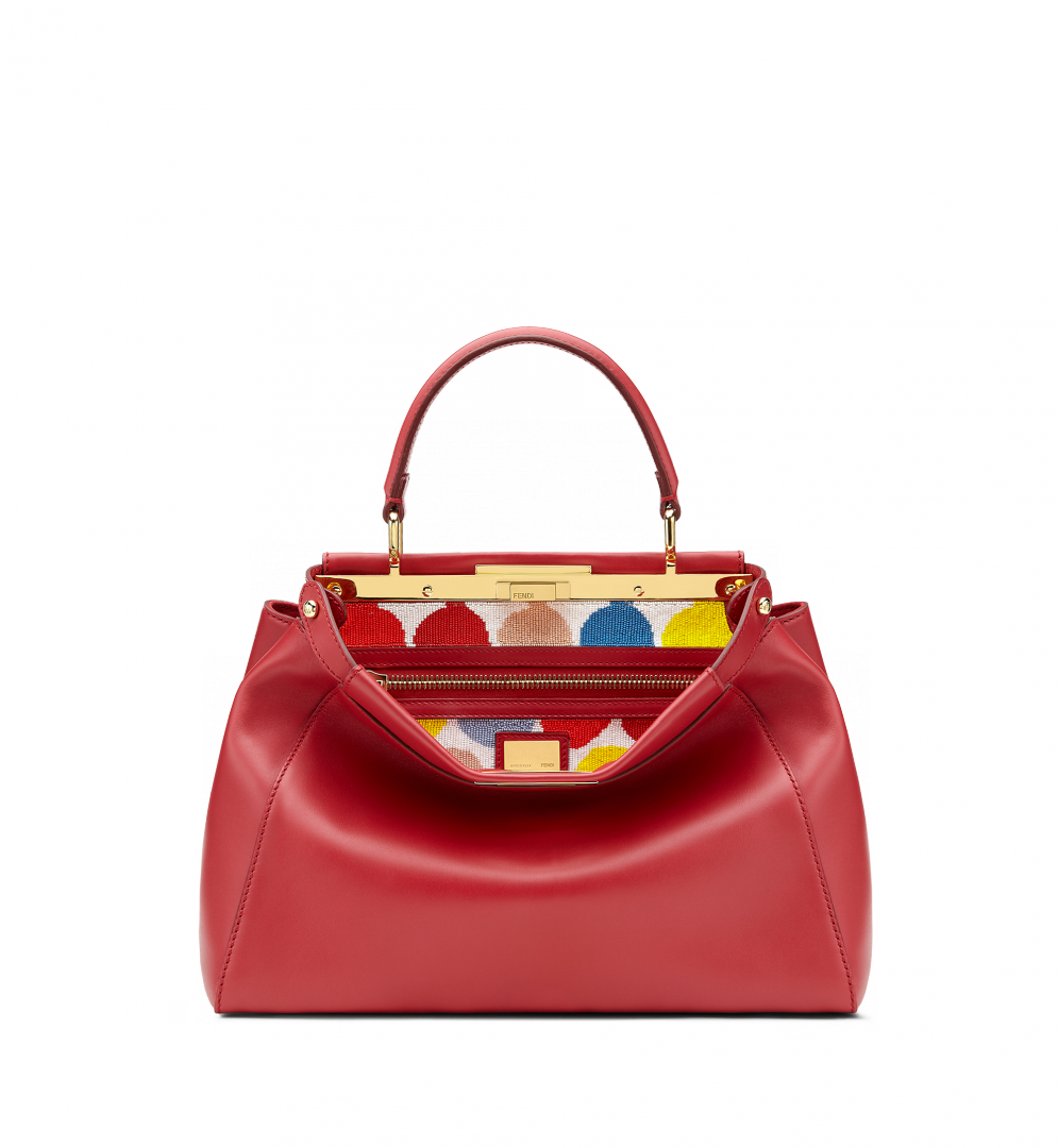 PEEKABOO Ruby calfskin handbag. Two compartments with twist lock that reveals the internal stiff partition, multicolored polka-dot embroidery. Gold bar and metalware. Single handle and adjustable, detachable shoulder strap. Zipped inner pocket Made in Italy   Product code: 8BN226_1DP_V2X ABOUT THIS ICON Suggested price $5,750.00