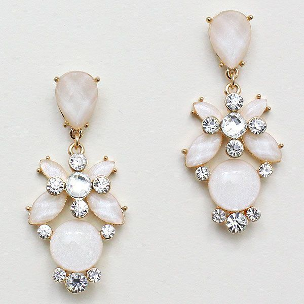 Amberly Earrings in Ivory Iridescence on Emma Stine Limited - indian silver jewelry, jewelry for sale online, artificial jewellery bangles *ad