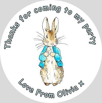 35 x personalised peter rabbit 37mm round stickers labels party thank you seals in party bags