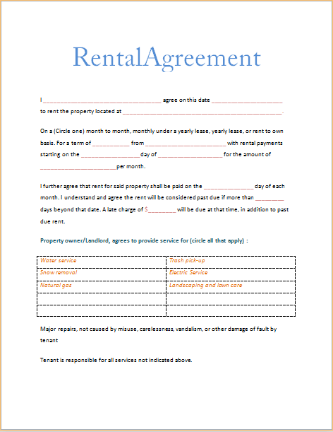 Printable Sample Free Printable Rental Agreements Form  Hardship