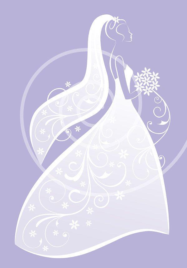 bride in white wedding dress bridal shower wedding by illustree bride clipart blue wedding dresses