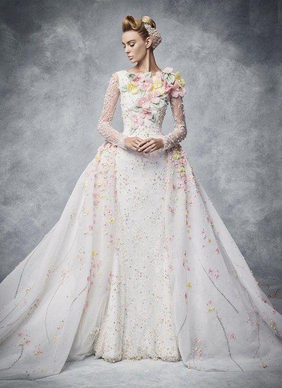 db11df20264 Hobeika pastel floral wedding dress with long sleeves    http   www.deerpearlflowers