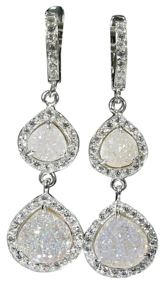 Druzy White Sapphire Sterling Silver Dangle Earrings