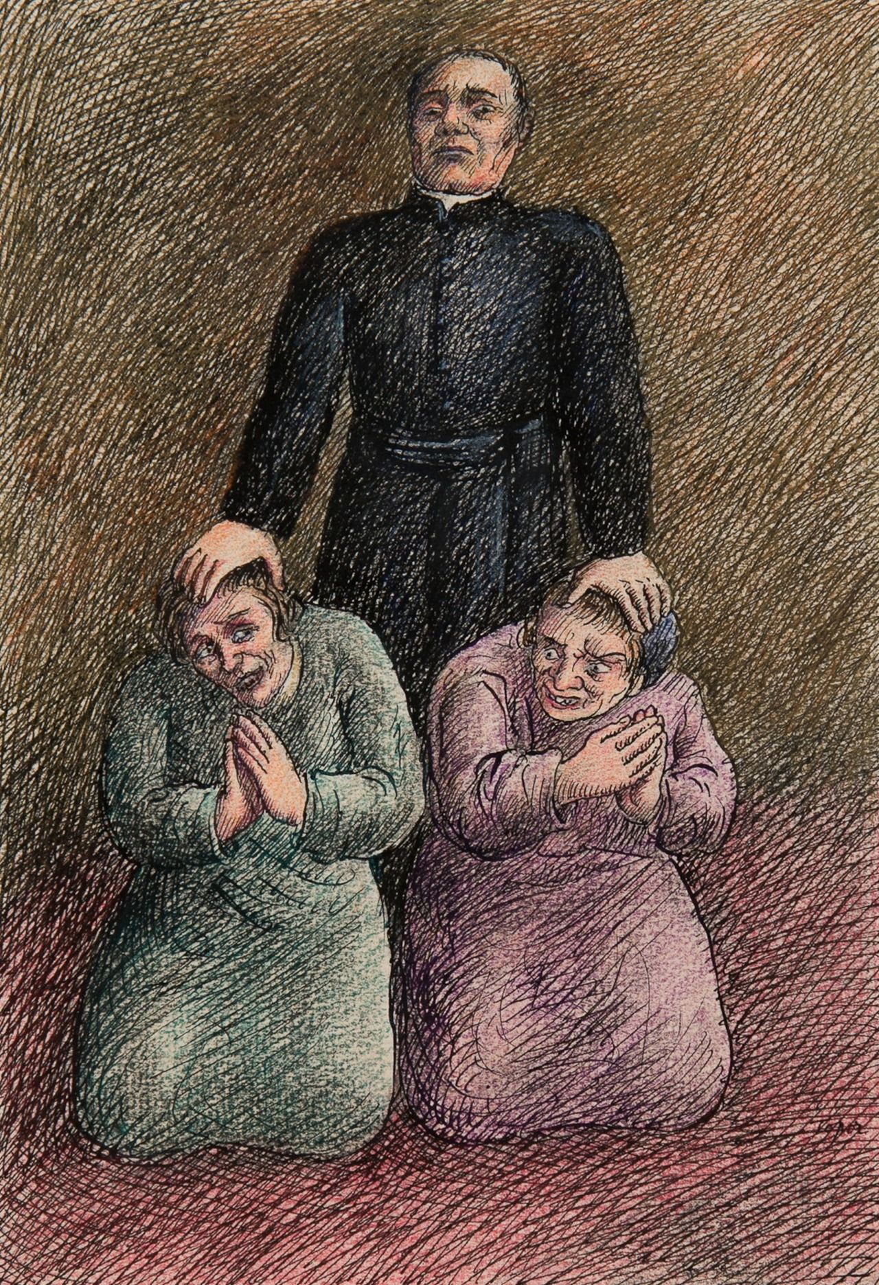 Vision Roland Topor French 1938 1997 La Table Aux Creepy Faces Illustration Art Illustration
