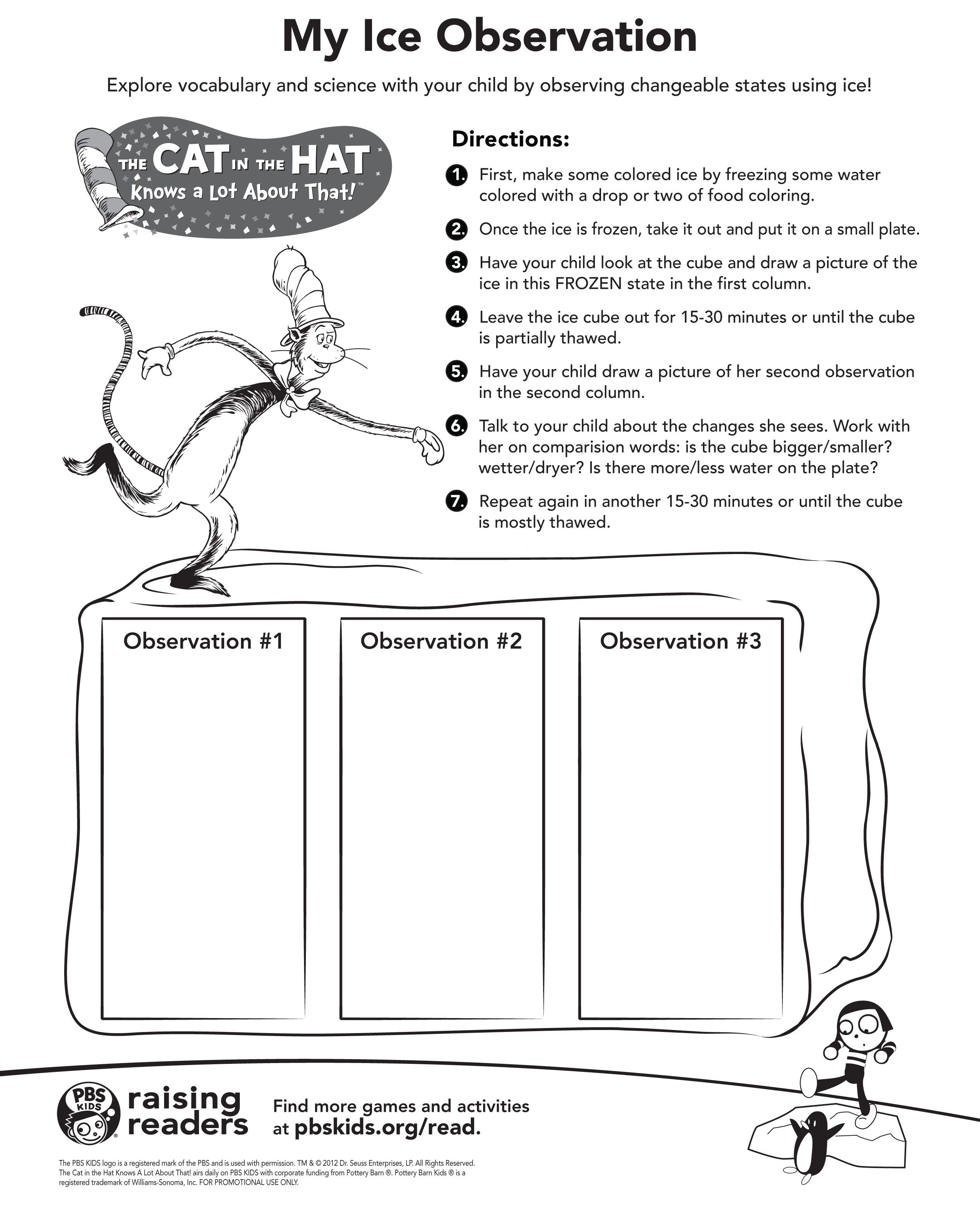 worksheet First Grade Matter Worksheets cat in the hat ice observation worksheet hatread kindergarten first grade simple experiments writing sentences worksheets an experiment with hat