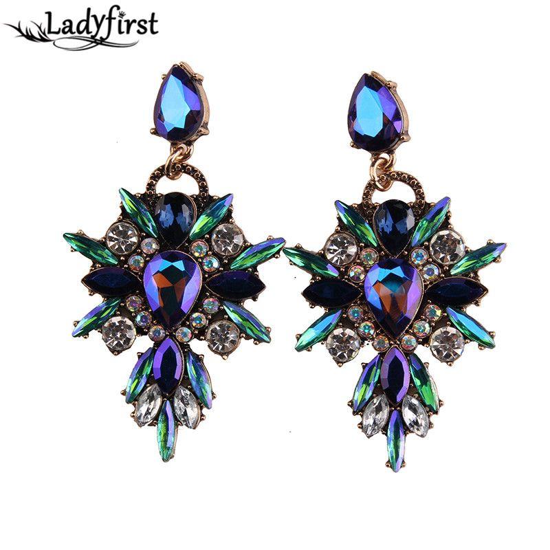 Ladyfirst 2016 nieuwe kleurrijke bloem grote merk ontwerp luxe starburst hanger crystal gem verklaring oorbellen sieraden 3343