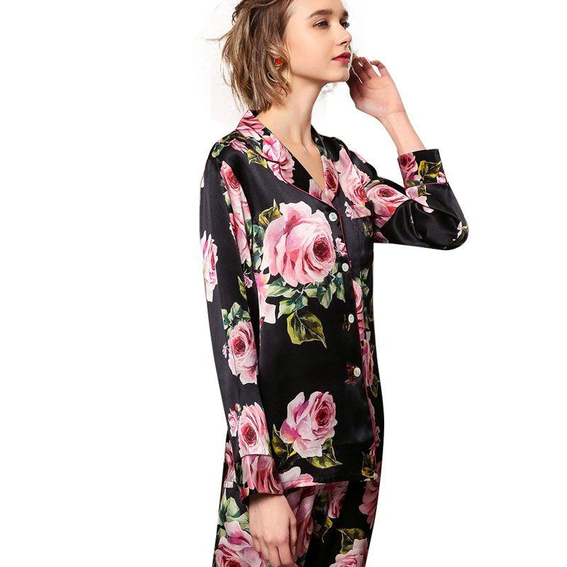 02c1694335 2019 New 19 Momme Black Floral Silk Pajama Set