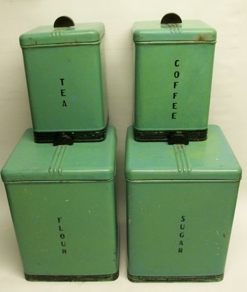 Art Deco Kitchen Canisters In My Favorite Green