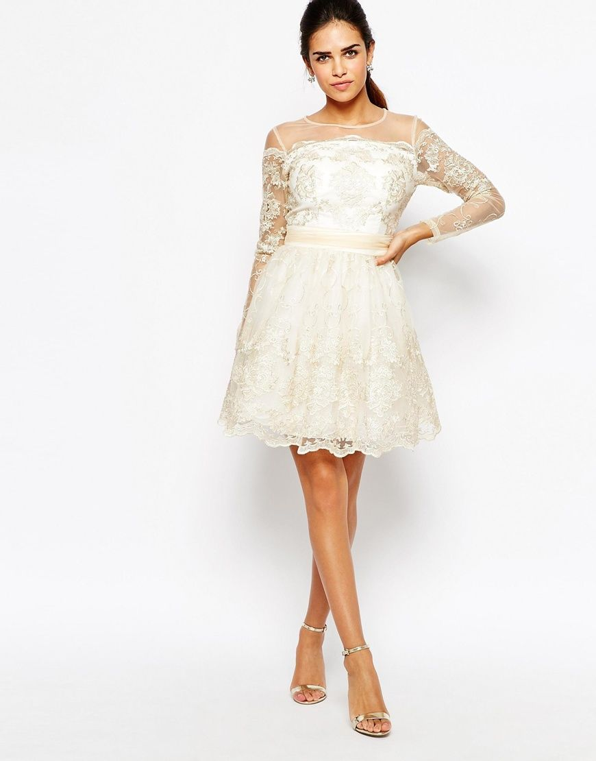 4ab2dea6d953 Image 4 of Chi Chi London Long Sleeve Premium Lace Mini Prom Skater Dress