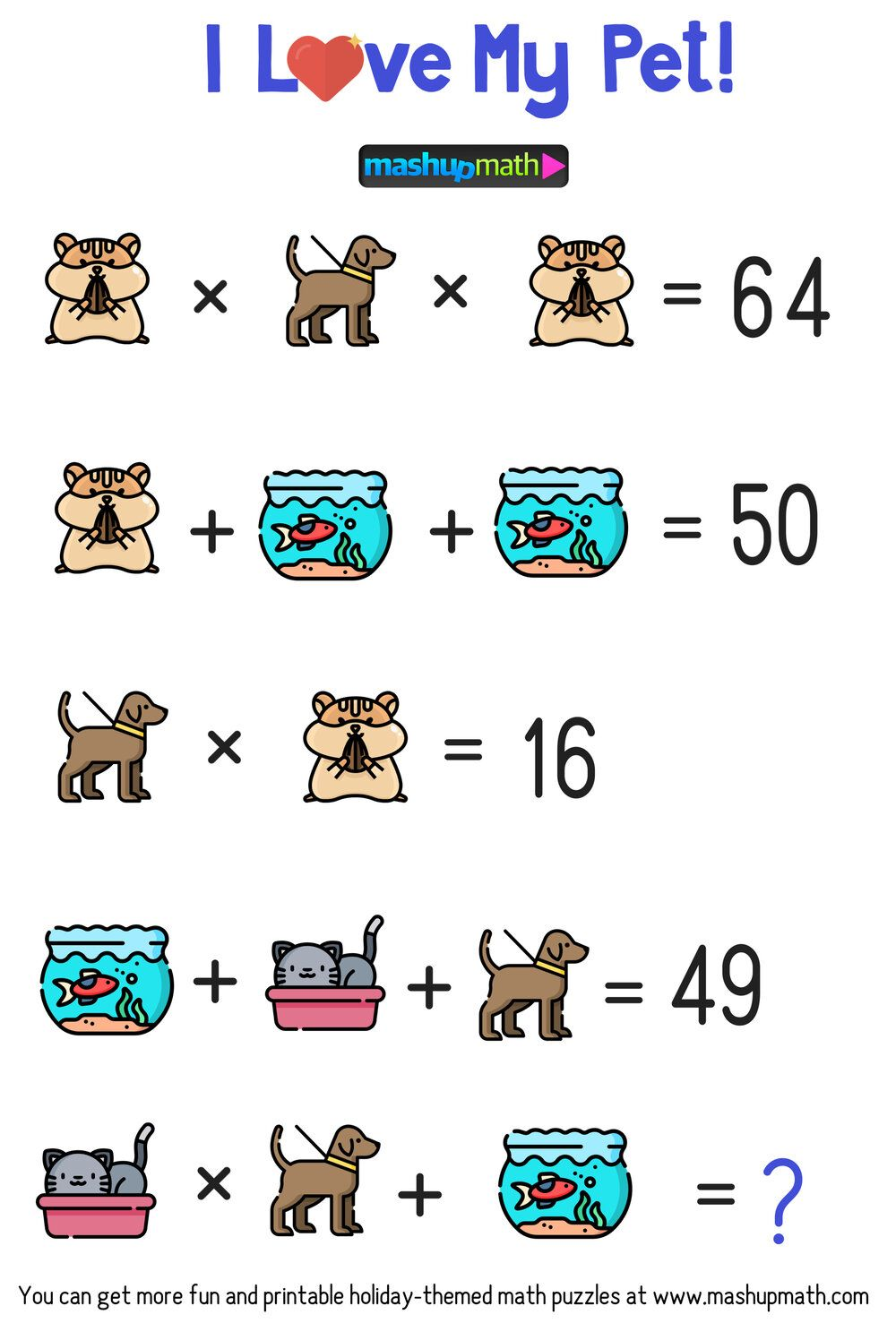 Celebrate National Pet Day In Your Classroom With These Free Math Puzzles Mashup Math In 2020 Maths Puzzles Math Logic Puzzles Free Math [ 1477 x 1000 Pixel ]