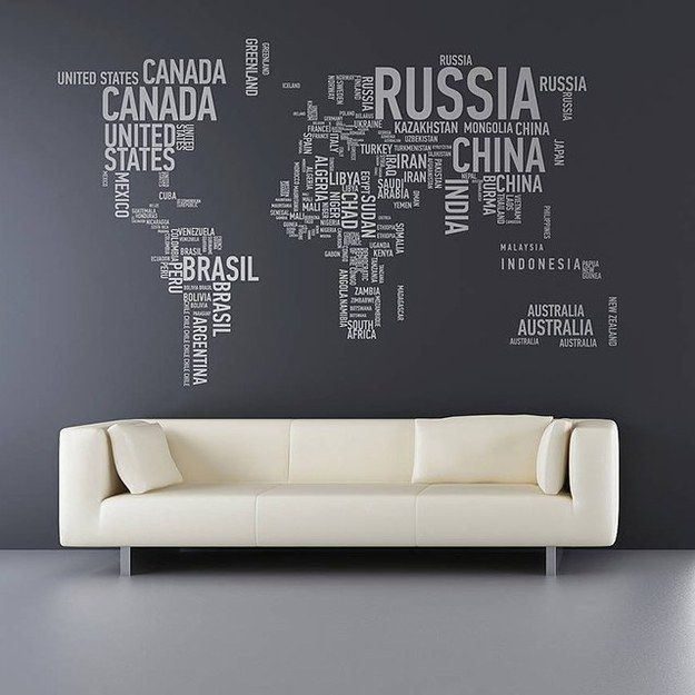 19 decoration ideas with world map minimalist design minimalist word world map wall decal gumiabroncs Image collections
