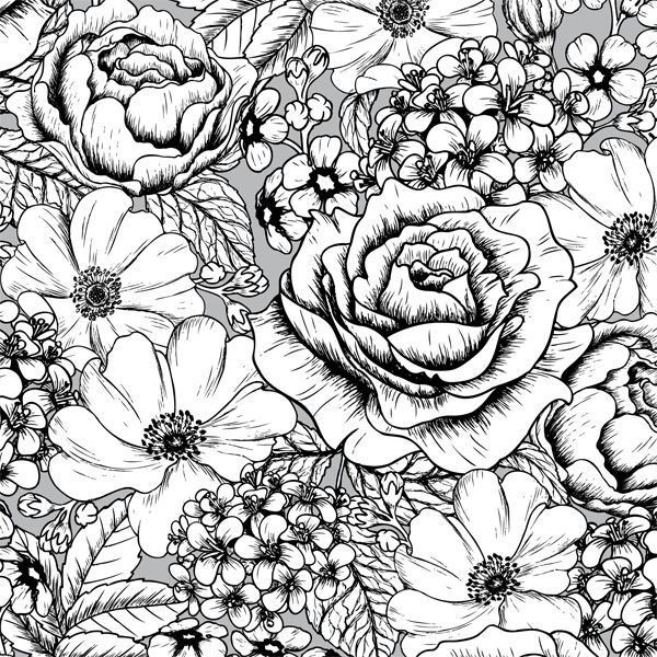A Page Of Gorgeous Flowers From The Vintage Patterns Creative Colouring Book For Grown