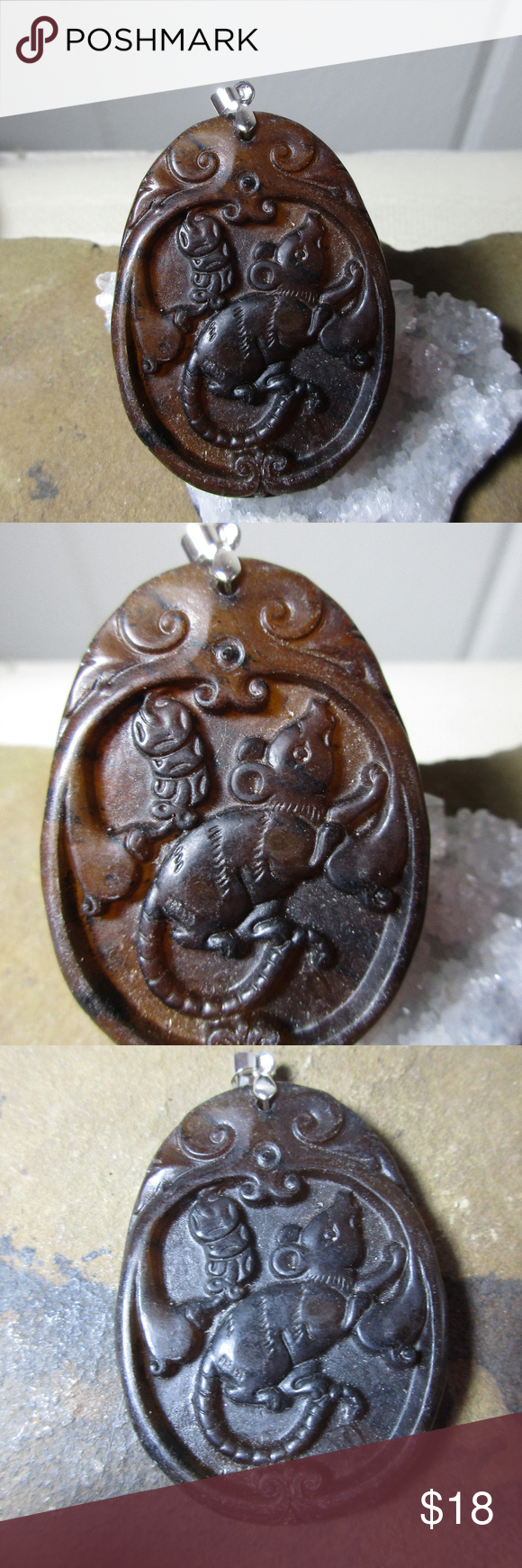 Old jade rat chinese zodiac sign pendant necklace da rat