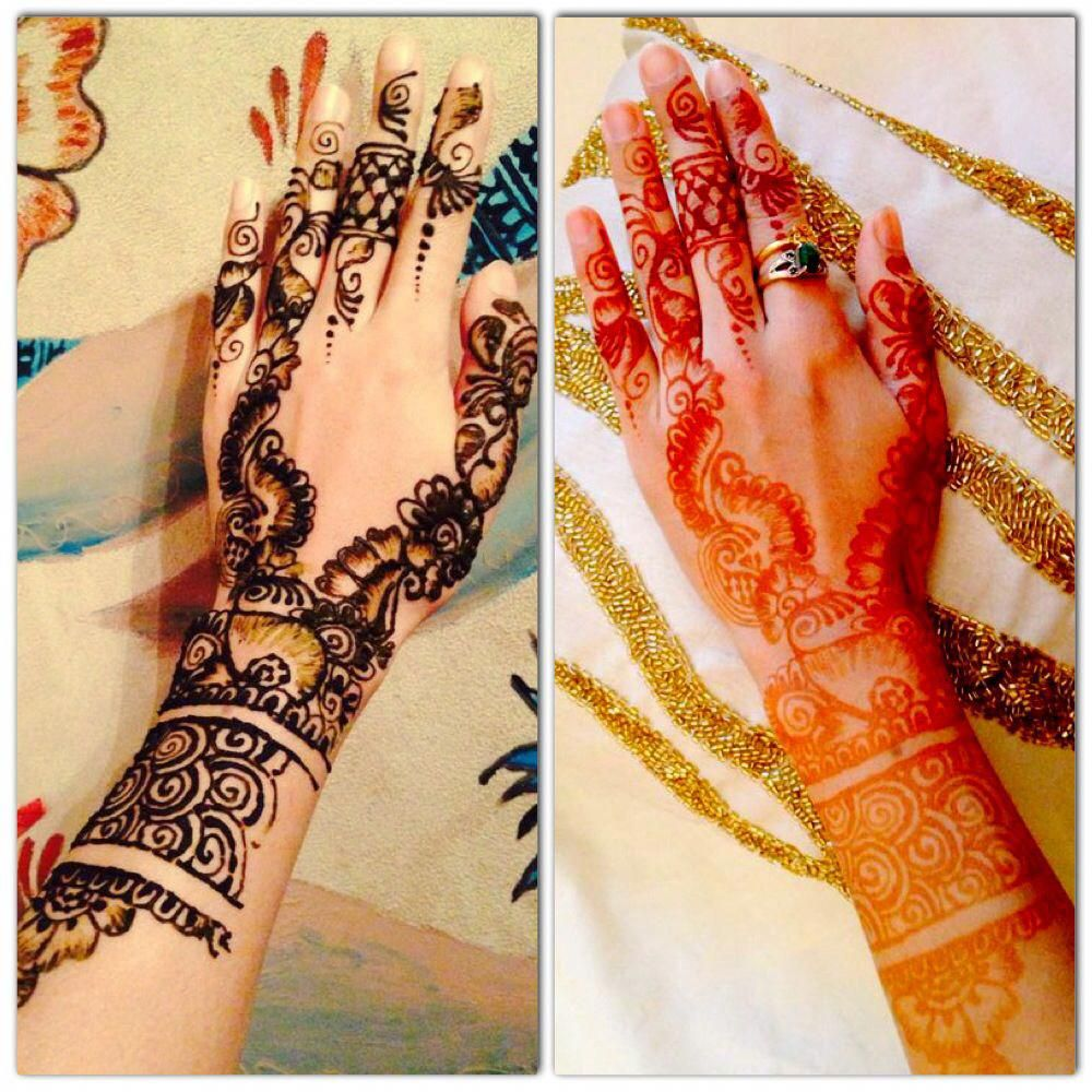 Before removal of the henna paste & after the removal