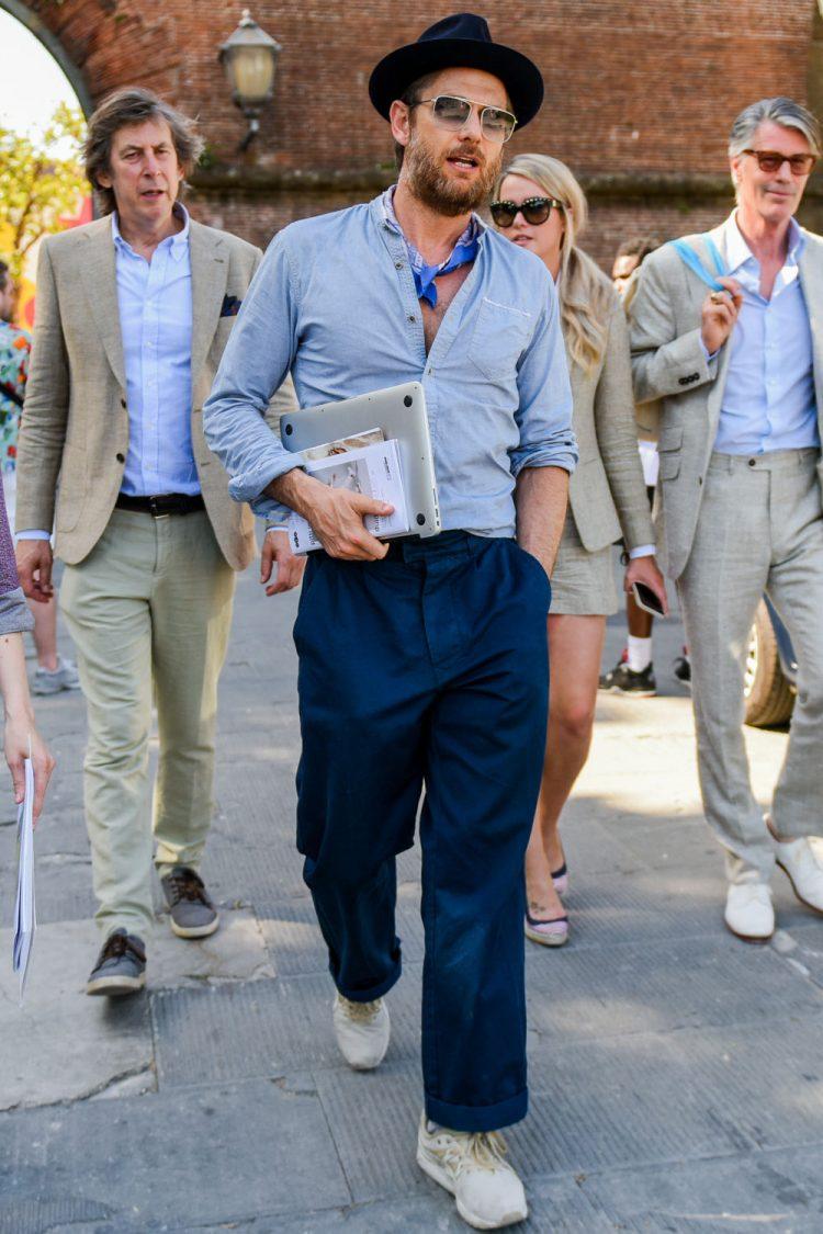 中折れハットで洗練されたトーンオントーンコーデに磨きをかける メンズファッション メンズ コーデ 男性の服