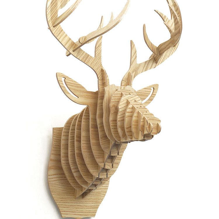 High Quality Willow 3D Wooden Deer Head Puzzle Animal Heads Wall Decoration  for sale on Balloonsale