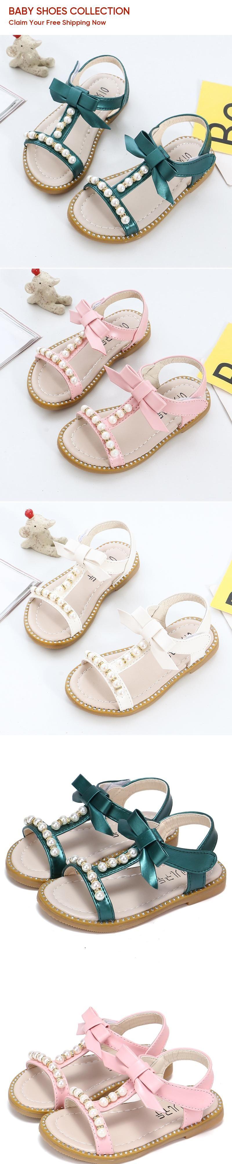 d6c652920afa 2019 Baby Girls Summer Shoes Girls Sandals Flip Flops Kids Beach Sandals  Baby Girls Princess Pearl ...