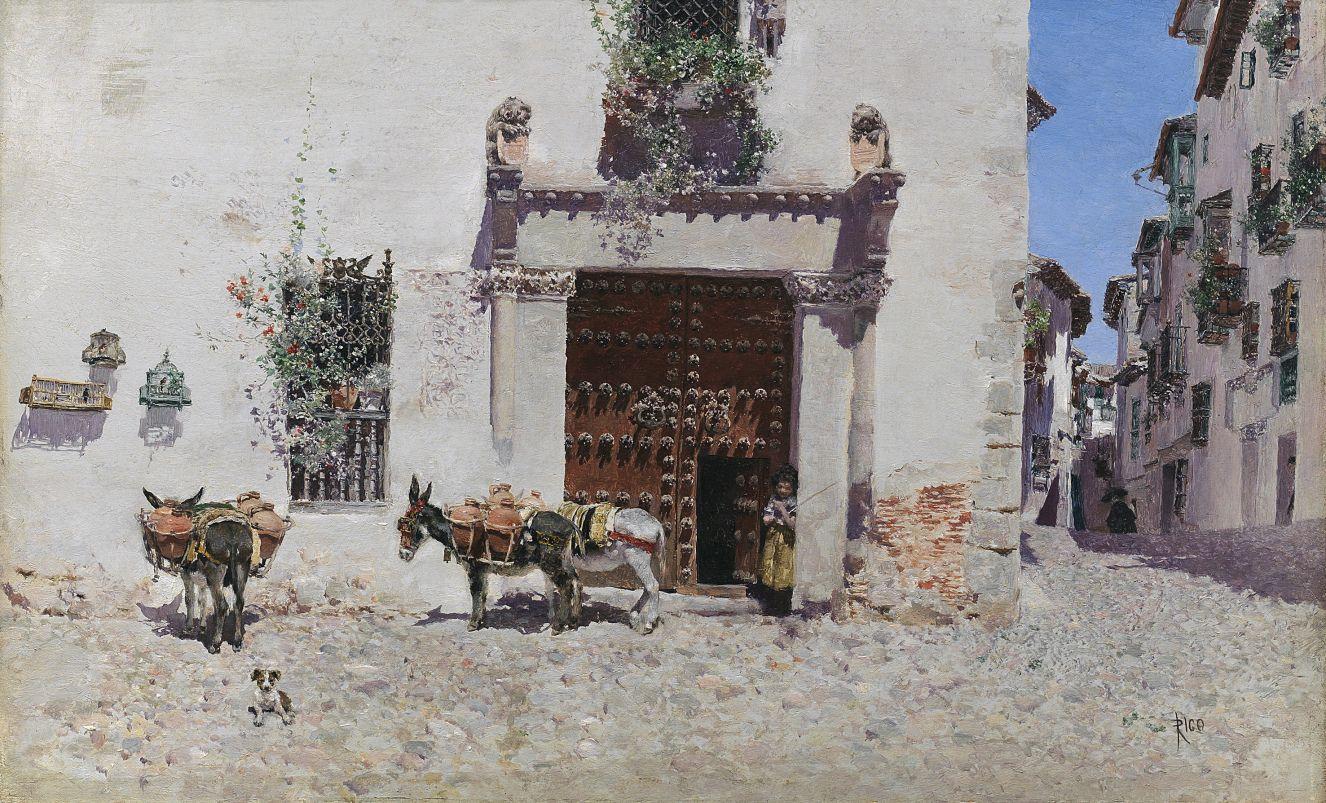 La aguadora, Martín Rico y Ortega. Óleo sobre tabla, 21,7 x 34,8 cm, 1875. Cuadro de gabinete.