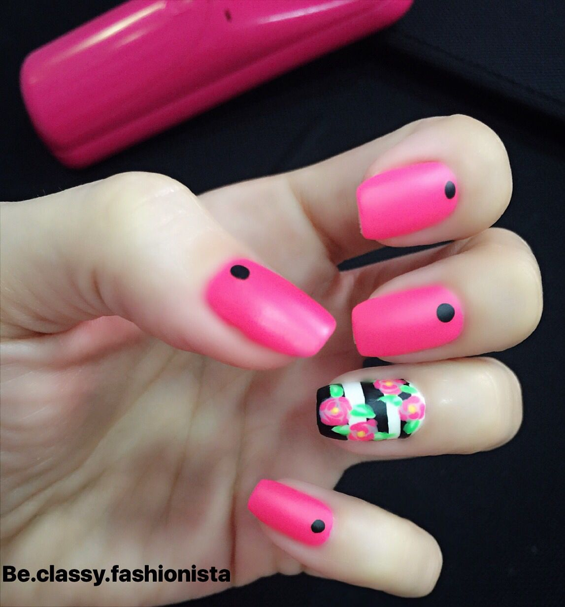 pink #fuschia #neon #matte #black #white #stripes #flowers #dotes
