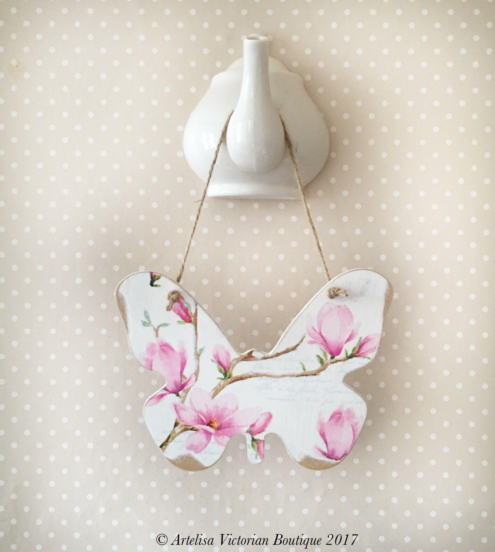 Erfly Pink Magnolia Plaque Wooden Sign Victorian Vintage Fl Wall Hanging Wedding Giftsvintage