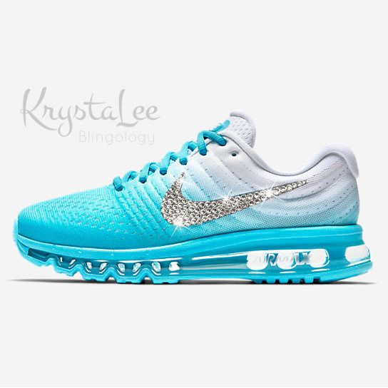 timeless design 2e279 57be6 Womens Nike Air Max 2017 Blue White Custom Bling Crystal Nike Tennis Shoes, Sports  Shoes