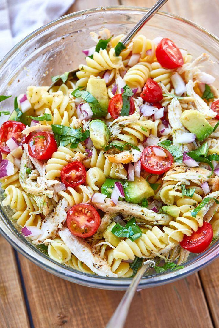 Healthy Chicken Pasta Salad Recipe with Avocado –