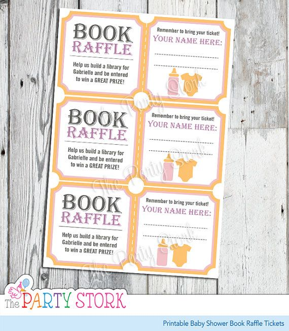 Baby Shower Book Raffle Tickets, Pink for Girl, PRINTABLE Baby - raffle ticket