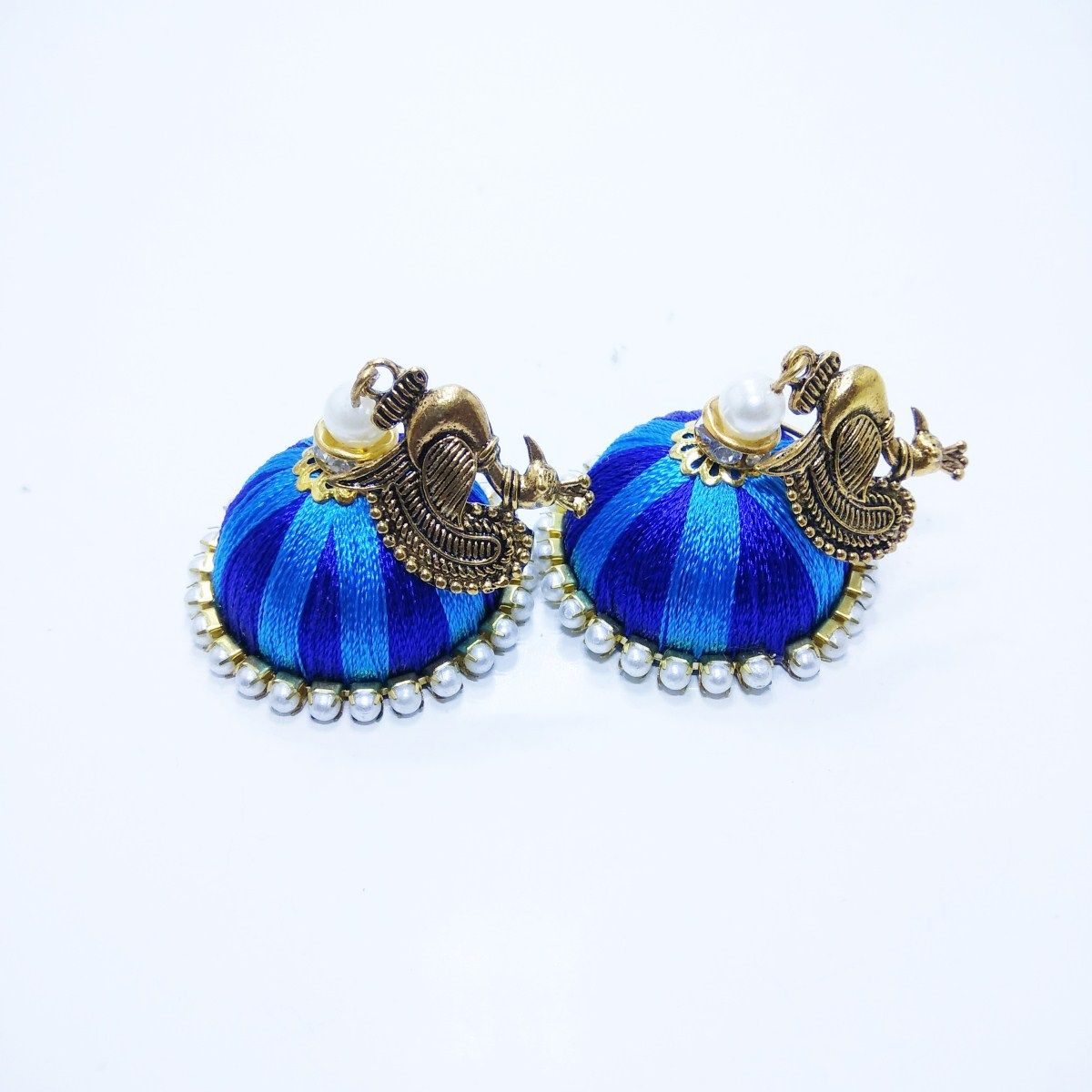 Blue silk thread jewellery earring designs Fashion Jewellery