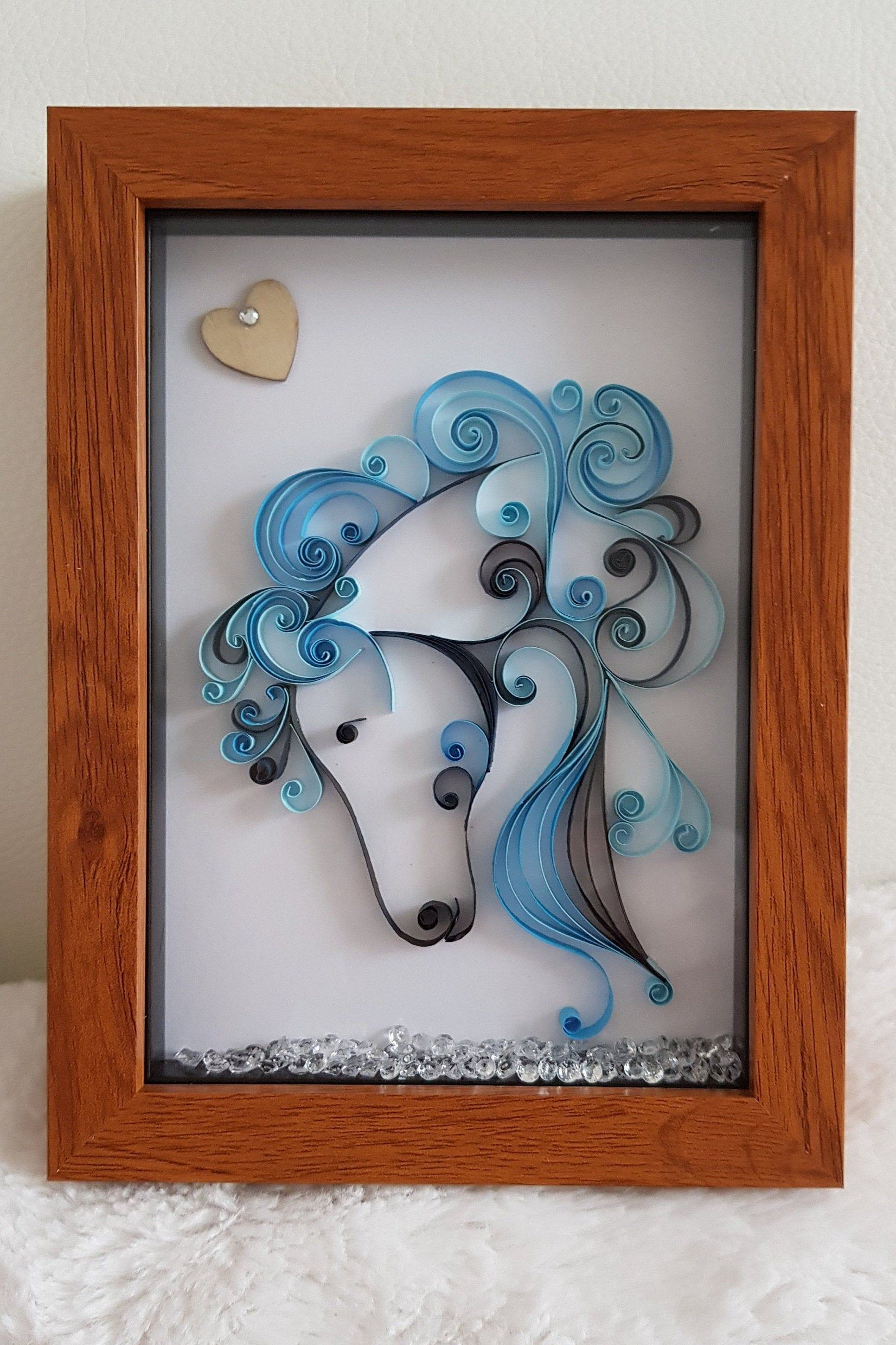 Horse head Quilled Art handmade by modheartpix in the UK