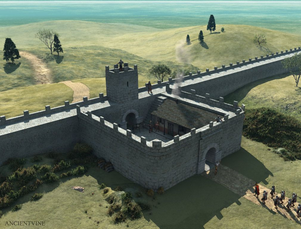 A mile castle along Hadrian's wall, ca. 130 AD. Hadrian's wall was ...