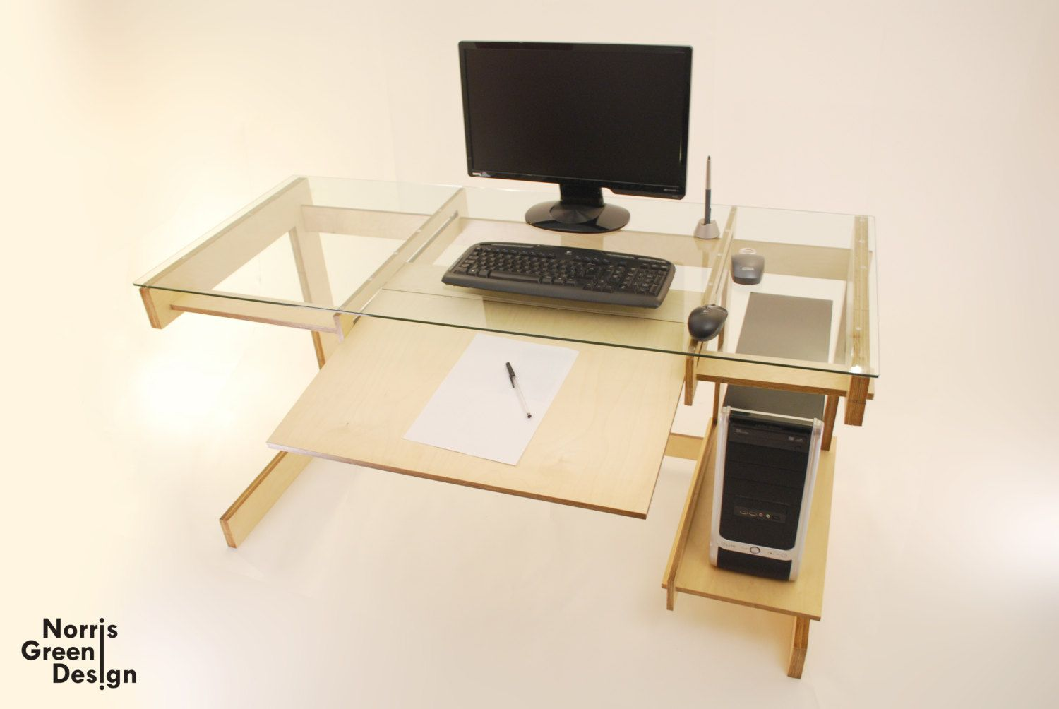 Computer Desk: Lazor Cut Hand Finished Birch Plywood Desk With Glass Top    Http: