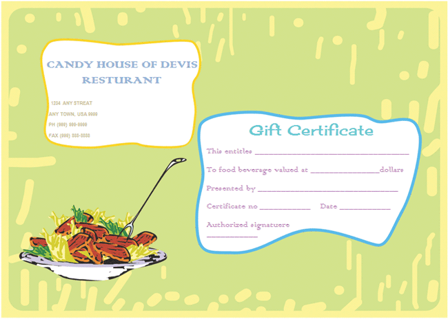 Restaurant Gift Certificate Template Zrom