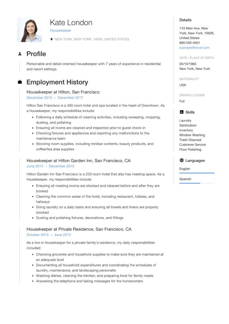 Resume Guide Housekpeer + 12 Resume Samples PDF 2020