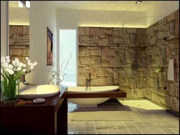 Vasca Da Bagno In Spagnolo : A wall decorated in natural stone is a way to continue the visual