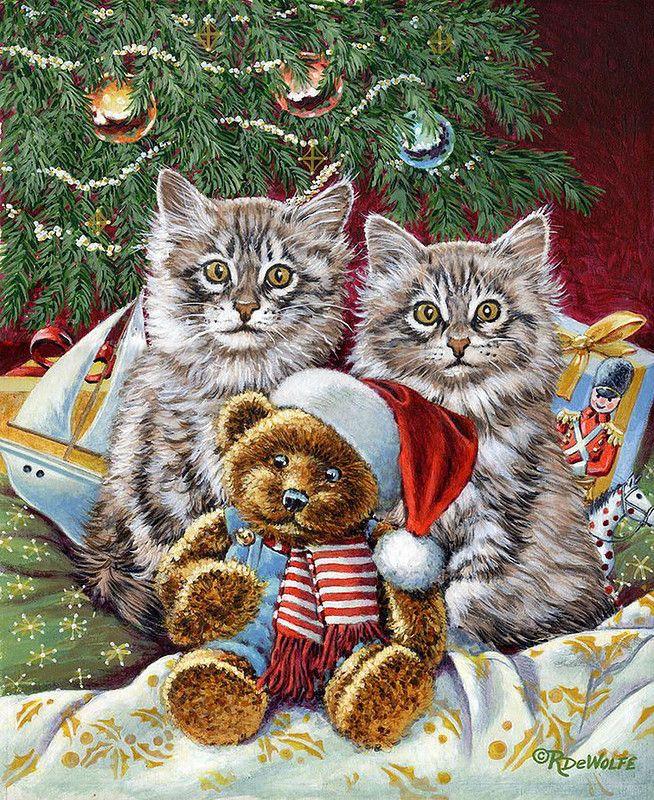 Новогодние открытки котята, объемная открытка новый