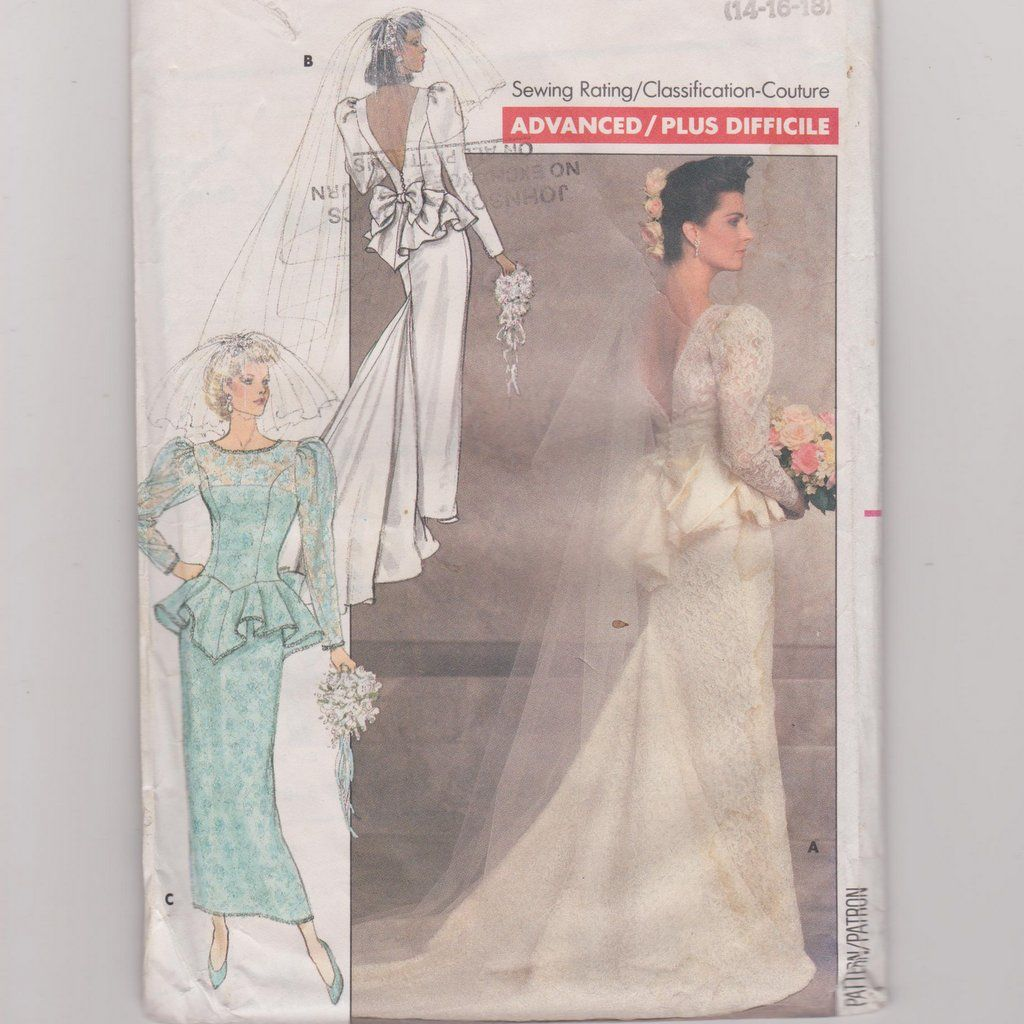 Patterns for wedding dresses  Wedding Dress Pattern Butterick  Sewing Pattern Long Dress with