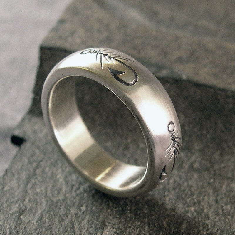 Fly Fishing Ring Wedding Band Sterling By