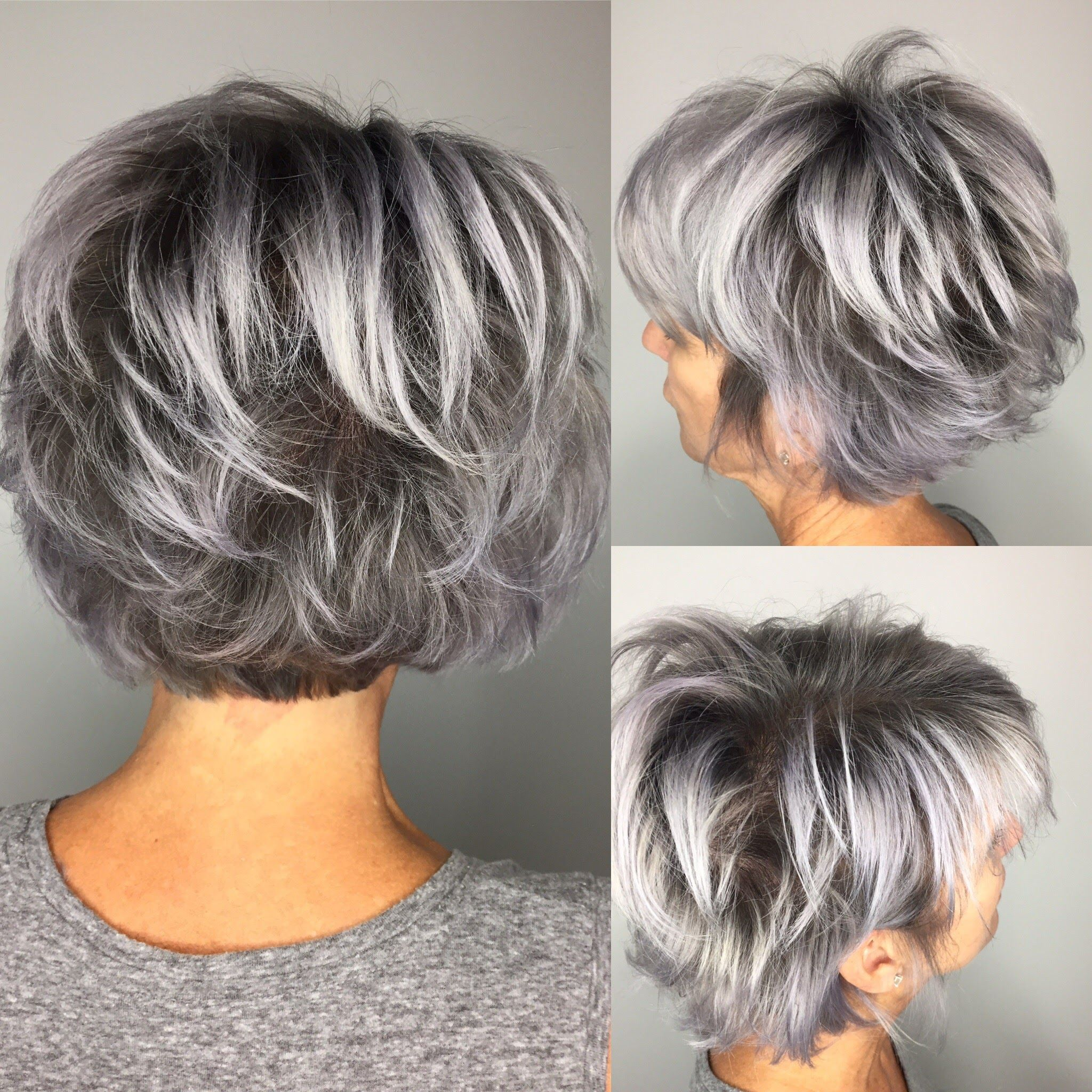 smoke and mirrors. shadow grey rooted bob | silver hair in 2019