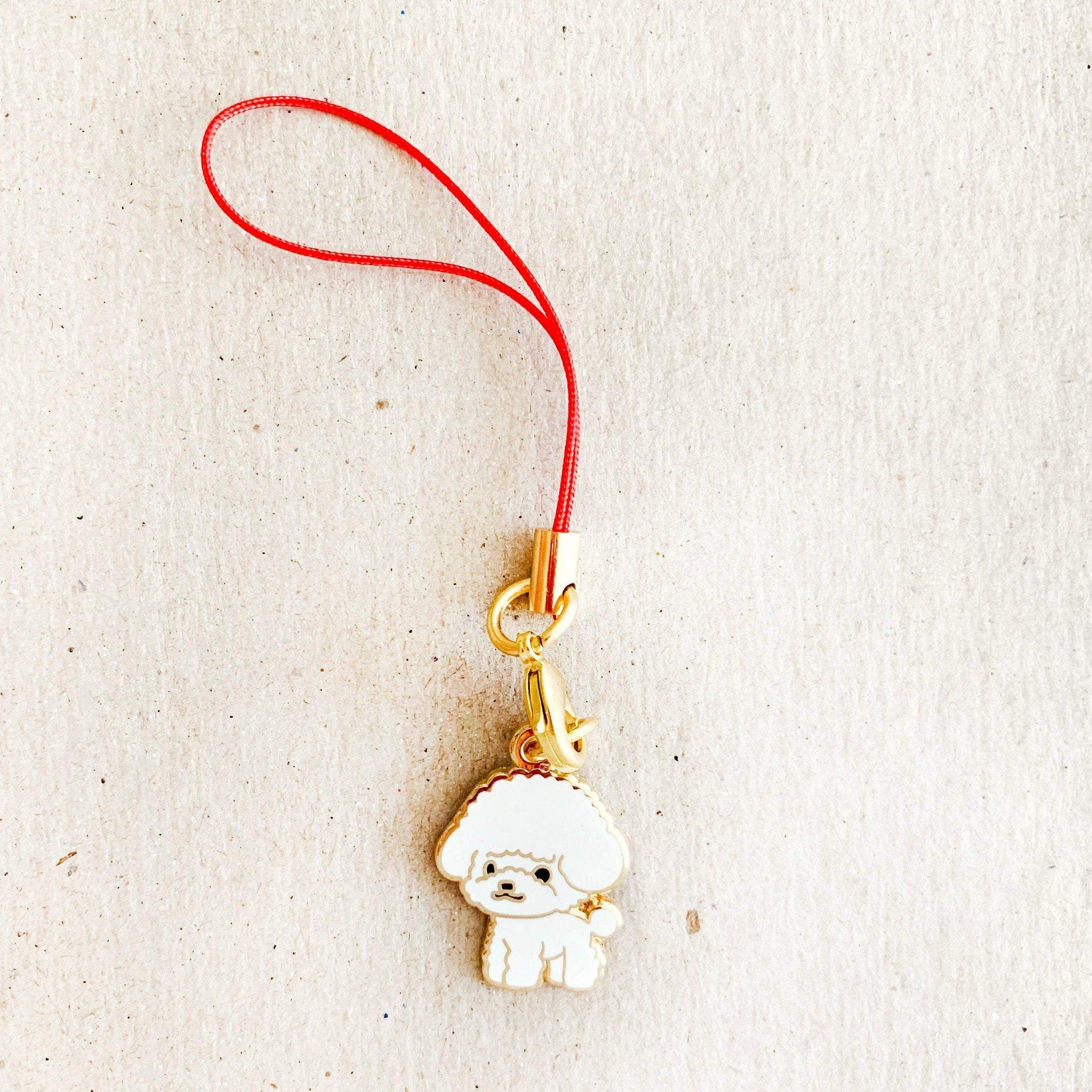Enamel Charm - Toy Poodle Keychain (White)